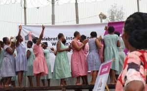 The choir perform in the women's prison